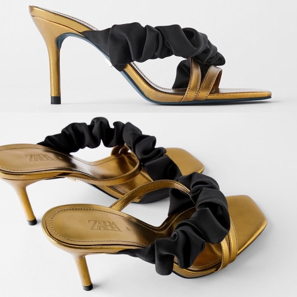 Zara LEATHER HEELED RUFFLY BLUE COLLECTION SANDALS